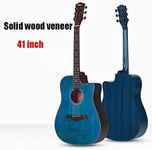 クラシックギター41インチキッズギターアコースティックギター初心者のための手作り無垢材アコースティックカッタウェイギター,ブルー