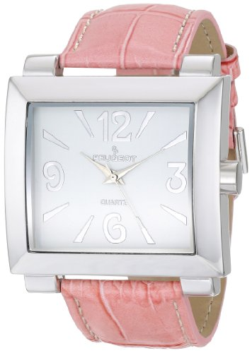 Peugeot Women's 706PK Silver-Tone Pink Leather Strap Watch