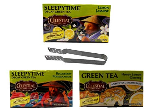 (Celestial Seasonings Green Tea 3 Flavor Variety with Bag Squeezer Bundle, 1 Each: Blackberry Pomegranate, Honey Lemon Ginseng, Lemon Jasmine (20 Count Boxes))