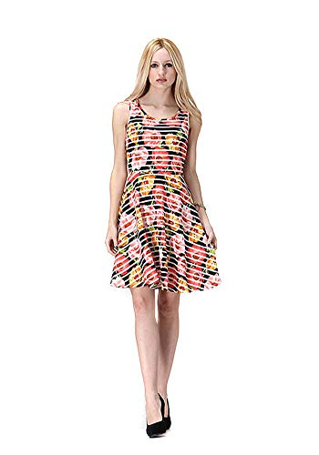 Colorful Floral Heart Cut Out Back Detail Fit & Flare Dress (Black, Large)]()
