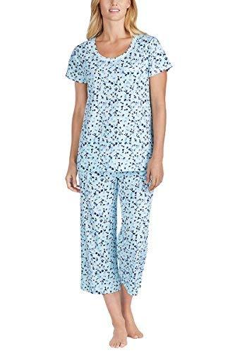 Carole Hochman Women's 2 Piece Capri Pajama Set (Blue Floral, X-Large)