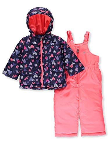 Amerex Osh Kosh B'Gosh Baby Girls' Infant Navy & Pink Heart Print Two-Piece Snowsuit, Heart, 12M