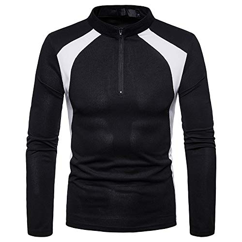 Clearance Mens Casual Slim Fit Splice Zipper Stripe Long Sleeve Shirt Top Blouse (Black, CN M)