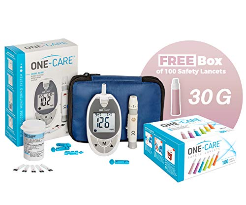 ONE-CARE Blood Sugar Kit – ONE-CARE Blood Glucose Meter, 1 Adjustable Depth Lancing Device, 60 Blood Test Strips, 30 Gauge Lancets -10 Count, Compact Carrying Case, Plus 100 Free Safety Lancets