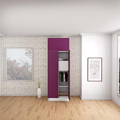 GODREJ INTERIO Slimline 2 Door Steel Almirah with Locker, with Over Head Unit in Purple,Textured Finish