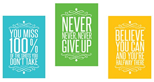 Set of 3 Colorful Large Big Posters Motivational Inspirational Quote Wall Art Posters -