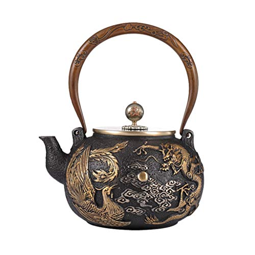 TongN Chinese Cast Iron Teapot, Dragon and Phoenix Pattern, 1.3 Litre, Good Gift for Family Friends