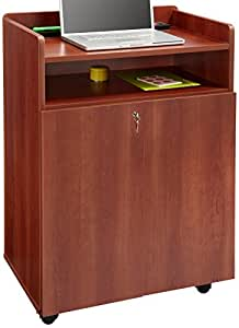 Safco Products 8919CY Executive Presentation Lectern Mobile Stand with Cabinet, Cherry