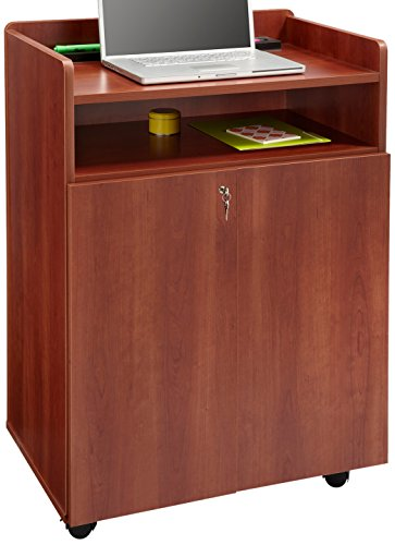 (Safco Products 8919CY Executive Presentation Lectern Mobile Stand with Cabinet, Cherry)