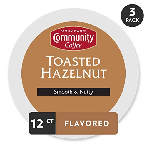 Community Coffee Toasted Hazelnut Flavored Medium Roast Single Serve 36 Ct Box, Compatible with Keurig 2.0 K Cup Brewers, Medium Full Body Smooth Nutty Taste, 100% Arabica Coffee Beans