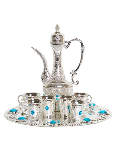 (Traditional Turkish Imperial Ottoman Style Tea Set for 6 including Tray and Teapot Silver Inset with Colorful Crystals (Light Blue))