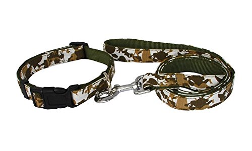 Strimm Camouflage Military Tactical Girly/ Boy Dog Collar and Leash Set with Pink and Army Green Color for Medium or Large Sized Pull Hard Dogs