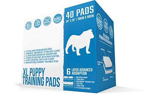 Bulldogology XL Puppy Pee Pads with Adhesive Sticky Tape - Extra Large Dog Training Wee Pads (24x35 X-Large, 40-Count)