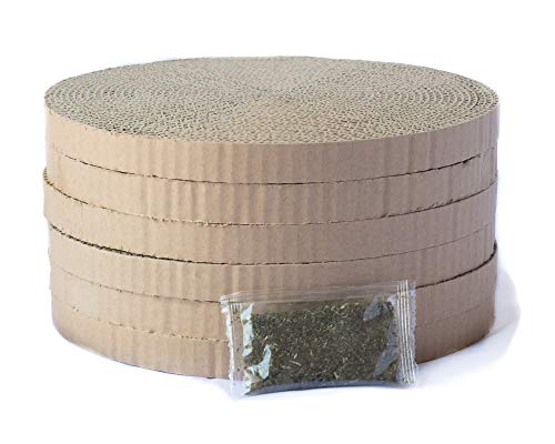 Happy Pet Ideas 6 Pack Round Durable Cardboard Cat Scratcher Replacement Pads Reversible Refills with Catnip, 10.25 inches x .75 inch