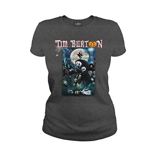 Women's Tim Burton Characters Halloween T-Shirt (2XL, Dark Heather) (Best Tim Burton Characters)