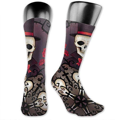 Unisex Performance Cushion Crew Socks Tube Socks Skull Gentleman New Middle High Socks Sport Gym Socks