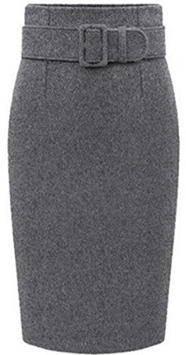 Cruiize Womens Fashion Tweed Wool Blend Belt Thicken Bodycon Skirts Dark Gray ()