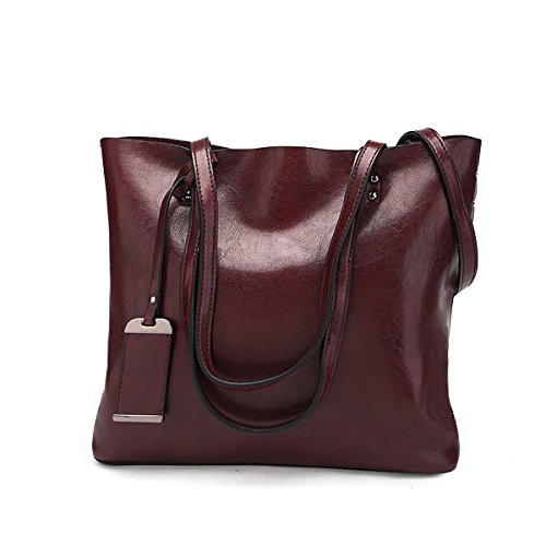 Women's Retro Hobo Messenger PU Leather Shoulder Handbag(Wine red) - 3
