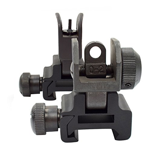 Twod-Flip-Up-Backup-Iron-Sight-Battle-Sights-BUIS-Dual-Apertures-RearFront-Sight