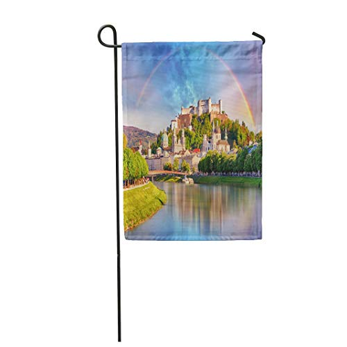 Tarolo Decoration Flag Blue Europe Austria Rainbow Over Salzburg Castle Orange Landmark City Summer Clouds Thick Fabric Double Sided Home Garden Flag 12
