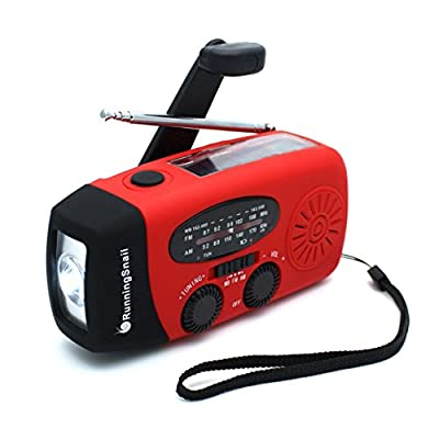 [Upgraded Version] RunningSnail Emergency Hand Crank Self Powered AM/FM NOAA Solar Weather Radio with LED Flashlight, 1000mAh Power Bank for iPhone/Smart Phone from Runningsnail