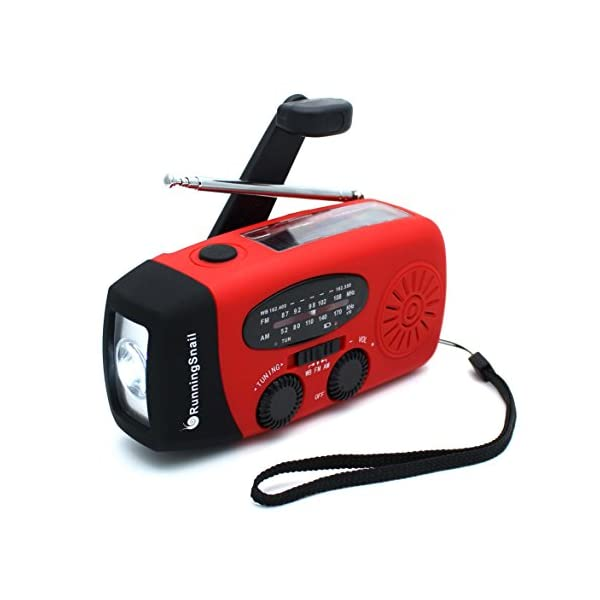 41 jE%2BYQfjL. SS600  - [Upgraded Version]RunningSnail Emergency Hand Crank Self Powered AM/FM NOAA Solar Weather Radio with LED Flashlight, 1000mAh Power Bank for iPhone/Smart Phone