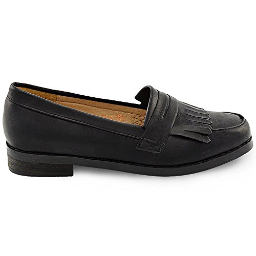 ESSEX GLAM Womens Slip On Loafers Flat Fringe Casual Work Pumps Black Synthetic Leather nb5uIM
