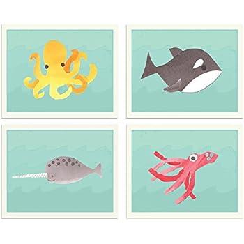 Under the Sea//Ocean Animals.Kids//Baby//Nursery Art Prints.Wall Decor.Whale.Fish