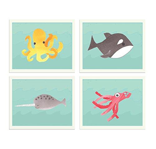 - Sea Collection Set of Four 8x10 Children's Wall Art Prints, Kid's Wall Art Print, Kid's Room Decor, Gender Neutral, Animal, Sea, Ocean, Marine Animal Baby Room Decor, Playroom Decor