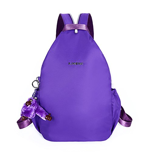 Flada nylon mochila casual mochila para niñas Púrpura