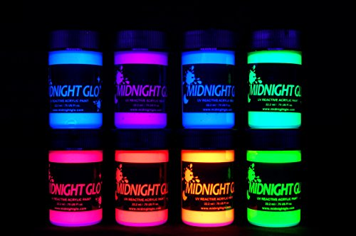Midnight Glo UV Paint Acrylic Black Light Reactive Bright Neon Colors Set of 8 Bottles Great for Crafts, Art & DIY Projects, Blacklight Party(0.75 oz) -