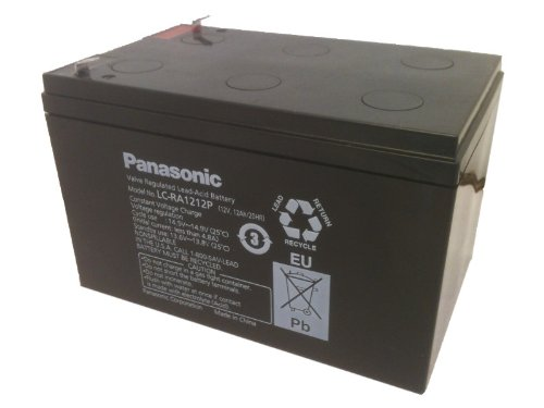 Panasonic LC-RA1212P Black Large 12V 12Ah VRLA Battery with F1 Terminal by Panasonic