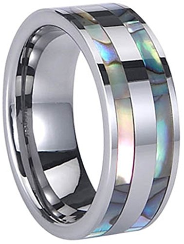 Men's Silver Tungsten Carbide Double Rows of Shell 8mm Flat Top Band Ring,Size 8