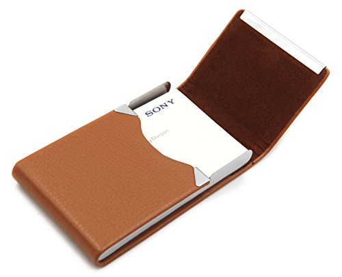 Bussiness Name Card Case/Slim Credit ID Card Holder With Magnetic Shut - Light Coffee