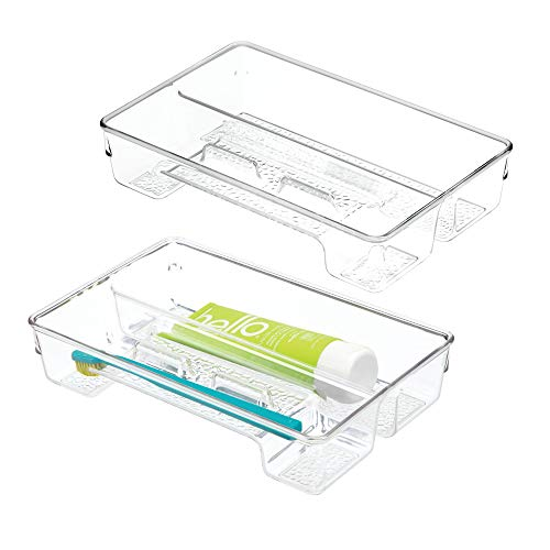 mDesign Bathroom Counter Vanity Storage Drawer Organizer Holder for Spin and Toothbrushes, Toothpaste Floss and Dental Supplies - Set of 2, Clear