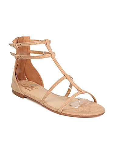 ede Gladiator Sandal - Casual, School, Everyday Wear - Strappy Flat Sandal - GB97 by Camel (Size: 6.5) (Faux Suede Sandals)