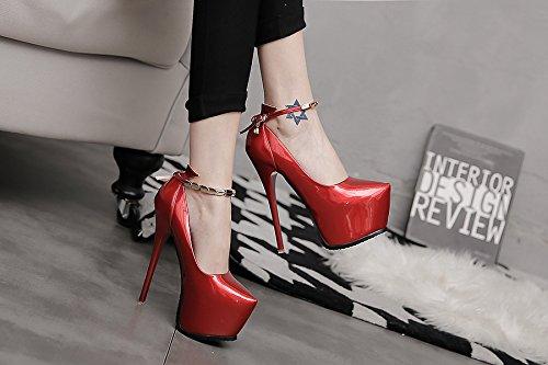 XiaoGao 16cm super tienda de zapatos de tacon zapatos de noche rojo vino banquete,De gules