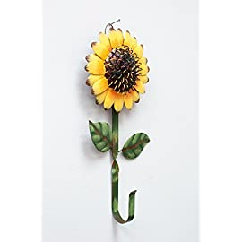 New Metal Sunflower Home Hook Great Home&Kitchen Keys,Coats,Utilities Hook Decor by GRACE HOME 1 Metal hook with sunflower design Sturdy and Durable: Metal sunflower hook, about 11 inches long, and the flower is 5 and 1/2 inches across. The hook/stem part is about 0.5 inch wide Multi-Purpose Hooks: You can hang your towel, keys, leashes, hat or other small items and it also provides you the ability to decorate your house while using a practical accessory