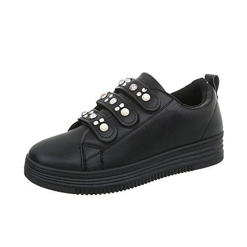 Donna 108 Sneakers Nero Fbk Sneaker Design Piatto Low da Ital Scarpe 4ZqqO