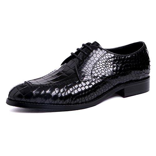 Santimon Mens Läder Förläna Mönster Spets-up Dress Affärs Oxford Skor Svarta