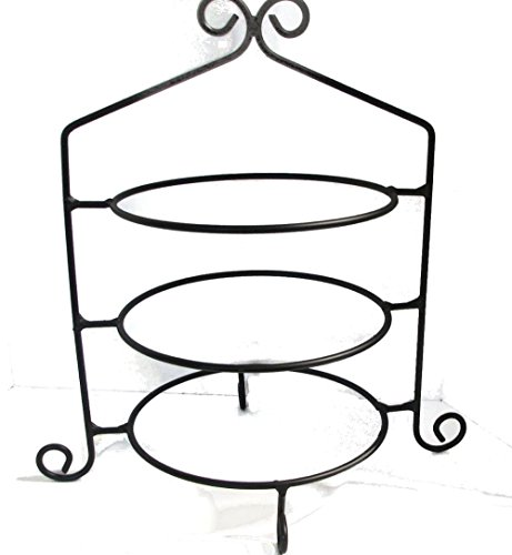 Black Wrought Iron Stand - Wrought Iron Pie Stand/Rack Triple Tier Hand Made