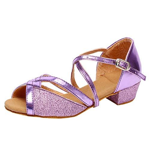(New in Haalife◕‿¿Ballroom Dance Shoes for Women Low Heel Wedding Shoe Salsa Latin Dance Heels Purple)