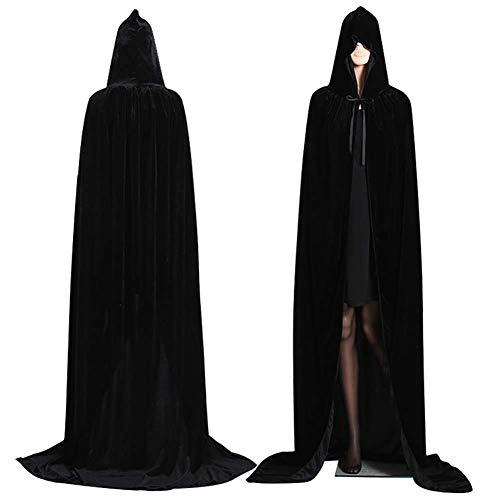 (Halloween Unisex Long Velvet Hooded Cape Cape Deluxe Vampire Disguise Wedding Witch)