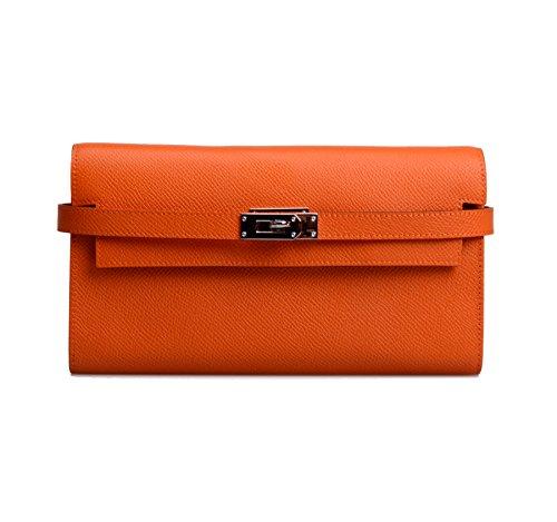Anifeel Womens Padlock Genuine Leather Wallets Purse Billfold Orange