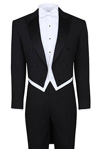 Peak Tailcoat - Lilis Men's Fashion 3 Piece Black Tuxedo Tails Includes Tailcoat Vest& Formal Pants
