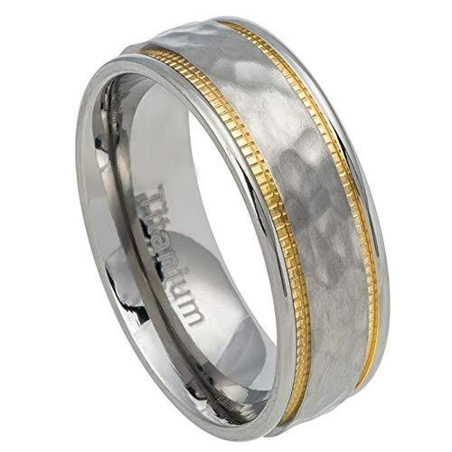 IPAULY Free Engraving Titanium 7-5mm Titanium Ring Hammered Center Yellow IP Milgrain Sides Wedding Band Ring Men Or Ladies (Light Hammered Platinum Three)