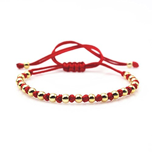 Famous Brand Mens 5mm Round Beads Red Rope Braiding Bracelet Bangle (red - Mens Brands Famous