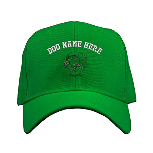 Weimaraner Baseball Hat - Custom Baseball Hat Weimaraner C Embroidery Dog Name Acrylic Structured Cap Hook & Loop - Kelly Green, Personalized Text Here