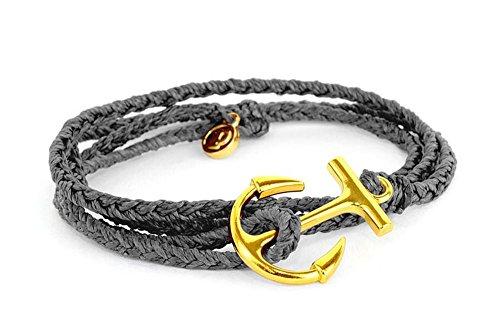 Pura Vida Gold Anchor Solid Grey Wrap Bracelet - Gold-Coated Charm, Adjustable Band - 100% Waterproof Lightweight Solid Bracelet
