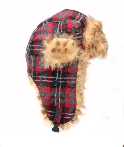 Accessoryo - Chapeau Rouge Trappeur À Carreaux Avec Un Animal Repéré Faux Doublure En Fourrure Disponible Dans Les Tailles 58cm Ou 59cm